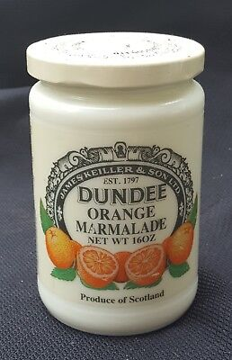 Vintage Dundee Orange Marmalade Custard Milk Glass Jar With Lid And Label