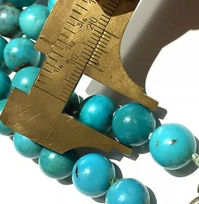Rare Antique or Vintage 70.80g! Big solid Turquoise beads necklace