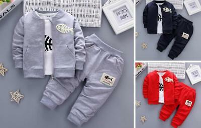 3pcs Kids Baby clothes boys clothes outfits & set Top coat+T shirt +pants fish