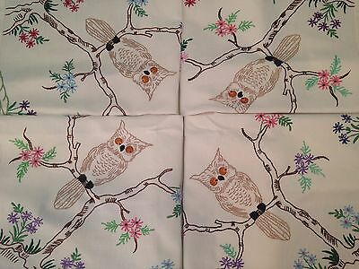 Vintage Hand Embroidered Tablecloth DELIGHTFUL OWL TREE and FLOWERS