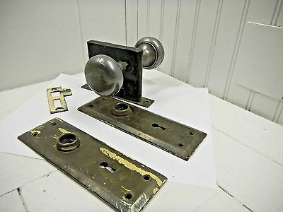 Antique Door Knob Key Plate Lock Insert Brass Switchplate Set Lot Vintage