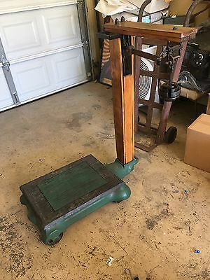 Antique Platform Industrial Farm Scale Made in USA  Cast Iron Wood