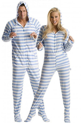 Unisex Soft Blue Stripes Fleece Footed Pajamas - Adult Sized Footie Hooded PJ