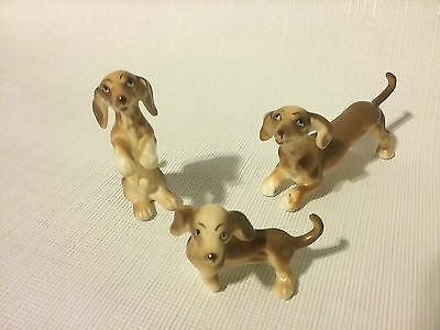 Vintage Bone China Miniature Dachshund Dog Collectible Figurines Set of 3
