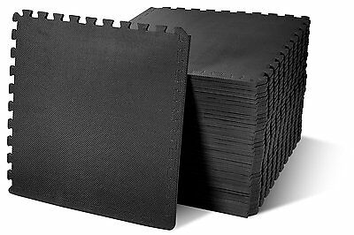 Black Interlocking Mat Yoga Exercise Gym Fitness Gymnastics Soft Foam Rubber UK