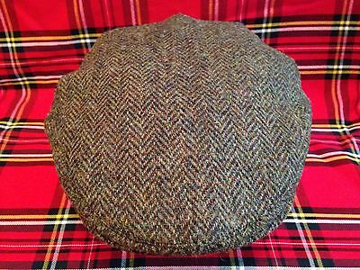 Men's Dark Green Herringbone Harris Tweed Flat Cap Driving Hat From Scotland