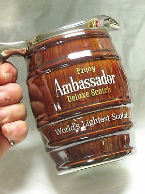 "5"" Vintage Ambassador Deluxe Scotch Whisky Water Barrel Hall Pottery Pub Jug"