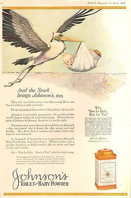 1920 Johnsons Baby Powder Story And Baby  Orig Vintage Ad