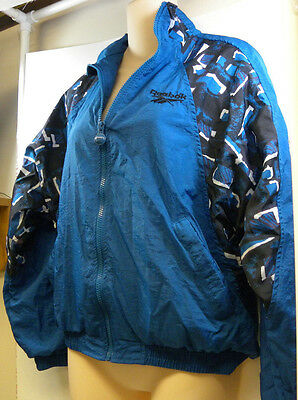Vintage Reebok Tracksuit Iridescent Blue Black Small Windsuit Open Leg