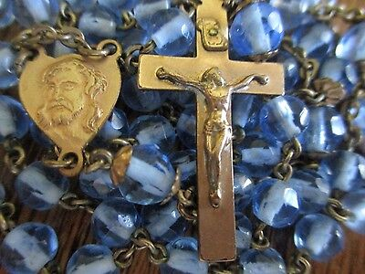 Vintage Antique Copper With Blue Glass Rosary Jesus Mary Religious Medal Lot D