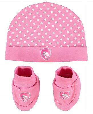 BABY Girls 9 12 Months LEICESTER TIGERS Hat & Booties Set Rugby Union clothing O