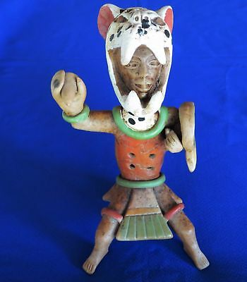 Jaguar Warrior Antique Vintage Aztec Mexico Mexican Flute Terra Cotta Clay Rare