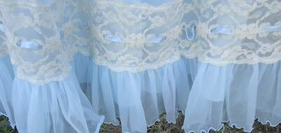 """Vtg 60s Nylon Intime Baby Blue Nightgown Lace Trim m 60"""" Diameter As Is Fading"""