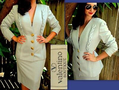 3+ ITEMS= EXTRA 20% OFF!❤Vtg $3600 VALENTINO HOURGLASS Power-SUIT Jacket Skirt M