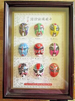 RARE--Types Of Facial In Make-up Chinese Opera  In Shadow Box Frame