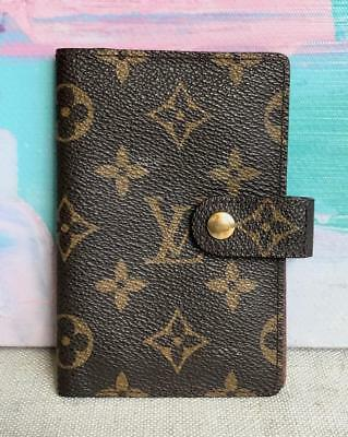 LOUIS VUITTON Brown Monogram Canvas Gold Snap Small Address Book Cover Agenda