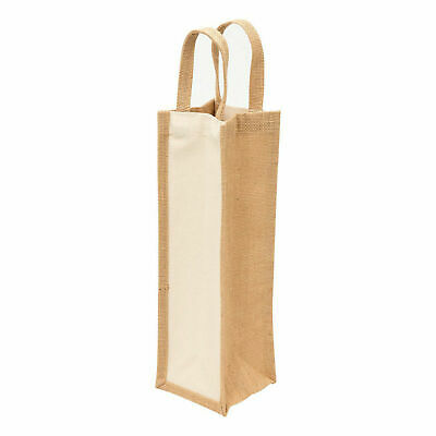 Plain Eco Jute Wine Tote Bag | Natural Canvas Bottle Carrier