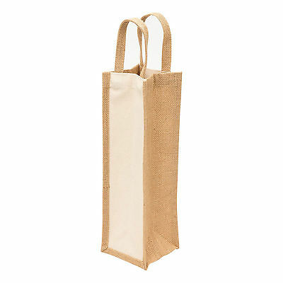Plain Eco Jute Wine Tote Bag | Natural Canvas Bottle Carrier | Bulk of 5 Bags