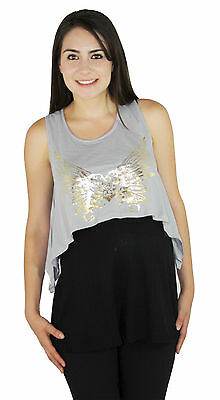 Gray Maternity Sleeveless Solid Black Pregnancy Blouse Top Two Piece S M L XL