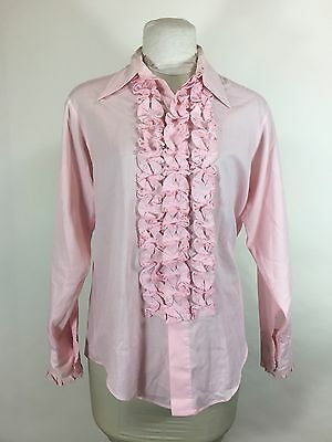 Vintage Mens Pink Ruffle Tuxedo Shirt 1960s 70s Prom Homecoming Wedding 15 1/2