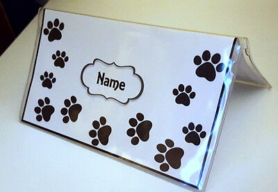 Paw Print animal cat dog Checkbook Cover Personalized
