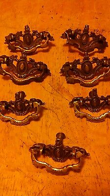 Set of  7 Victorian Drawer Pulls Hardware Vintage Dresser Pull