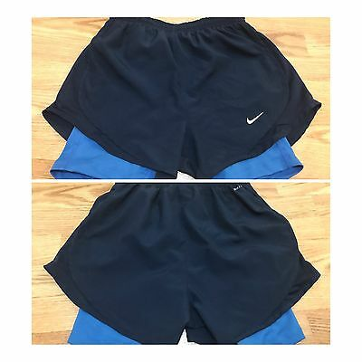Nike Dri-Fit Womens 2-In-1 Tempo Dk Blue XS Compression Running Shorts $40 NWoT