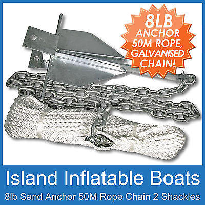 BOAT ANCHORING KIT ✱ 8lb 4kg Sand Anchor ✱ 2M Gal Chain 50M x 6mm Rope FREE POST