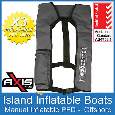 3 x AXIS OFFSHORE INFLATABLE  LIFEJACKET GREY 150N PFD1 Manual Jacket FREE POST