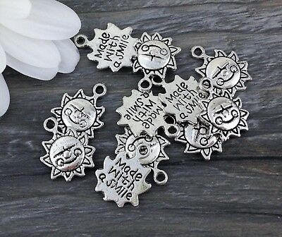 Bulk Sun Charms 5 or 10 Pcs Made with a Smile Message Pendants Silver Tone CH197