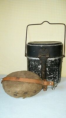 Antique WW I ? German Canteen with Felt Cover and Mess Kit Rare