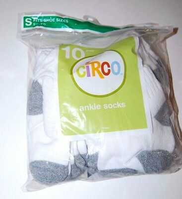 Socks Childrens White Small Ankle Sock Kids Shoe Size 5.5-8.5 Circo 10 Pair