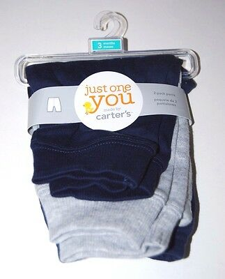Baby Pants Sweats 3 Months Just One You By Carter's 2 Pair Blue Gray New