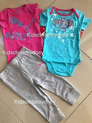 BNWT Auth Puma Baby Girls Set Pants Bodysuits Size 000 00 0 1 2