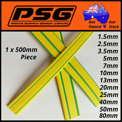 Heat Shrink Earth Green-Yellow 1.5, 2.5, 3.5 ,5, 7, 10, 13, 16, 20,25,40,50,80mm