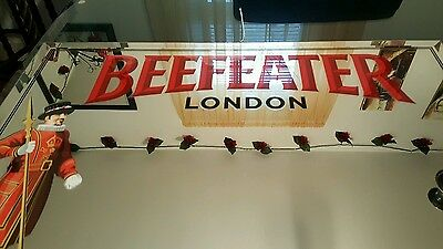"""Beefeater London Mirrored Sign. 21"""" × 27"""". Good Condition."""