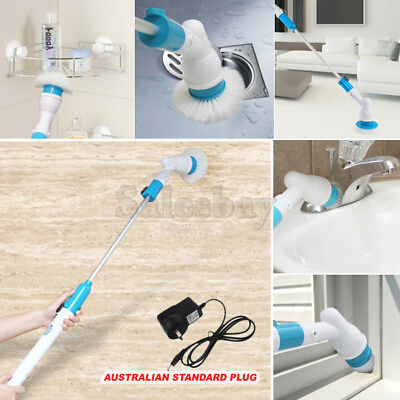 Turbo 3 HEADS Rechargeable Spin Scrub House Cleaning Brush Cordless 300RPMs
