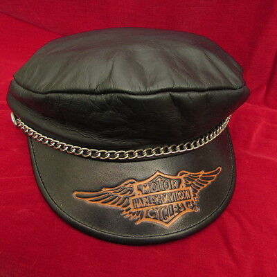 Harley Davidson Black Leather Captains Hat Cap Wing Logo Chain Size Small 21""