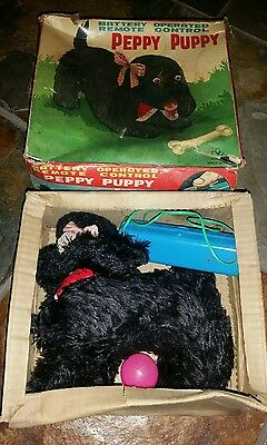 Vintage 60's PEPPY PUPPY Black Fur Battery Operated Toy with box RARE!