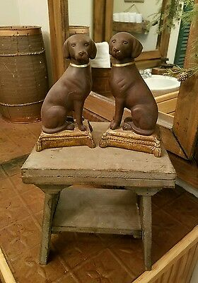 ~RARE~Gorgeous Pair of Vintage Chocolate Lab Dog Bookends~ESTATE~