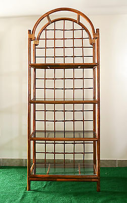 tall bentwood rattan and wicker standing shelf/bookcase/etagere with smoked glas
