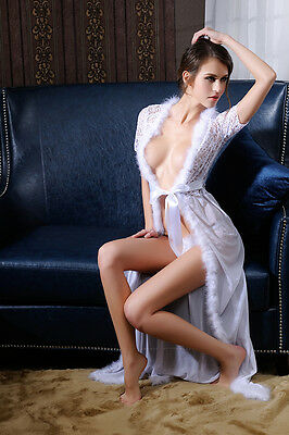 Sexy-Lingerie-Sleepwear-Lace-Women's-G-string Long Bathrobe Night Gown Robe Sex