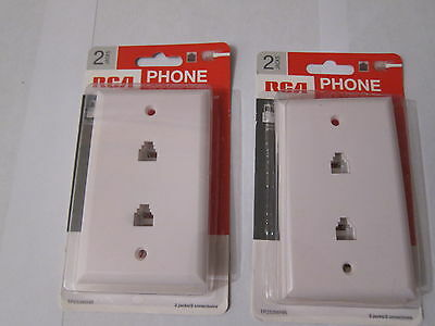 LOT of 2  RCA  TP253WHR 2-Jacks Phone Jack Wall Plate