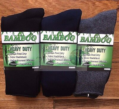 6 Pairs 98% BAMBOO SOCKS Men's Heavy Duty Premium Thick Work BLACK/Navy/Grey