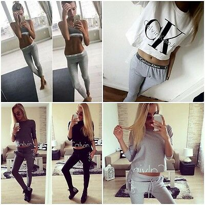 NEW Women Ladies letter Tracksuit Set 2pcs Tops+Pants Suit Sweatshirt Sweater