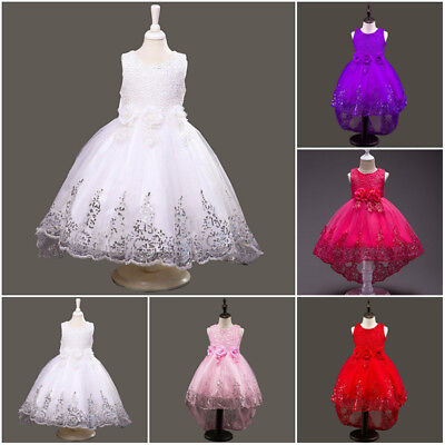 Kids Baby Flower Girl Lace Dress Princess Party Wedding Bridesmaid Trailing Gown
