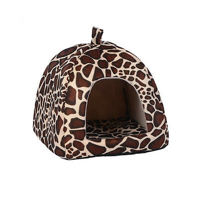 Soft Leopard  Pet Igloo Dog Cat Bed House Kennel Doggy Fashion Cushion Basket