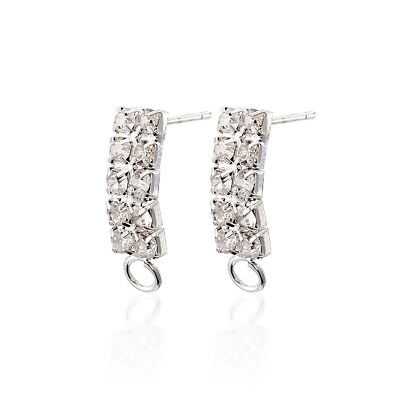 4pcs Brass Pave Crystal Rhinestone Earring Posts Rectangle Loop Ring Silver 19mm
