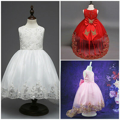 For Girls Party Wedding Bridesmaid Gown Kids Baby Flower Girl Bow Princess Dress