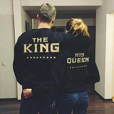 Couple Matching King and Queen Printed Jumper Pullover Hoodies Sweatshirt Top JJ